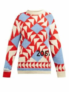 Calvin Klein 205w39nyc - Chunky Knit Intarsia Wool Blend Sweater - Womens - Red Multi