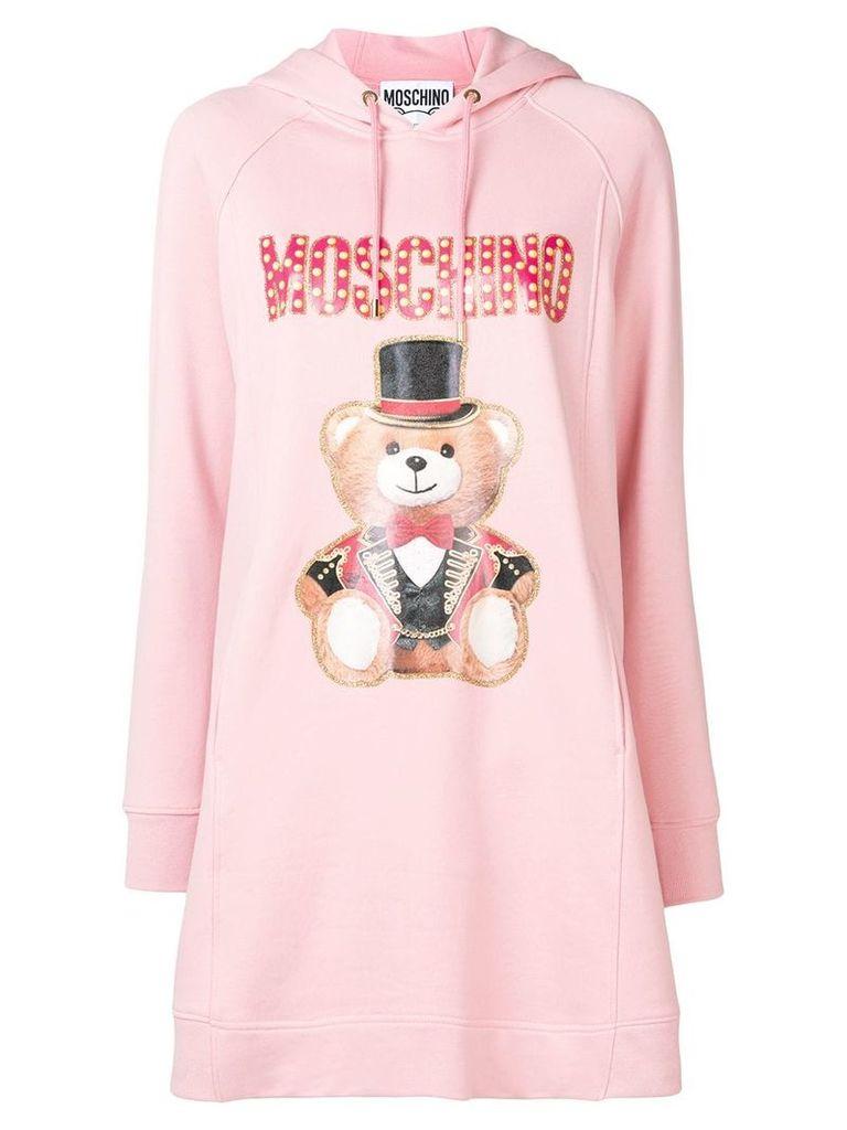 Moschino bear print hooded dress - Pink