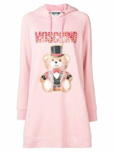 Moschino bear print hooded dress - Pink