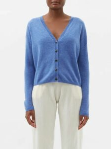 Joostricot - Breton Short Sleeved Cotton Blend Sweater - Womens - Navy White