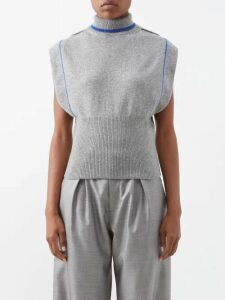 Balenciaga - Logo Print Ribbed Knit Sleeveless Top - Womens - Black White