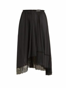 Balenciaga - Asymmetric Lace Trimmed Jersey Midi Skirt - Womens - Black