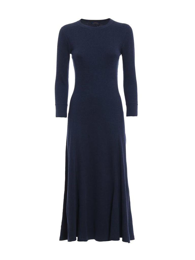 Polo Ralph Lauren Knit Cotton Blend Flared Dress