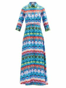 Gabriela Hearst - Windsor Denim Effect Wool Blend Skirt - Womens - Indigo