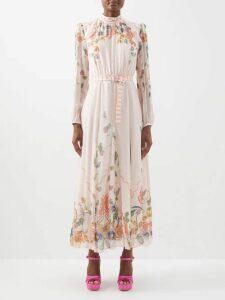 Valentino - Pleated Silk Crepe Midi Dress - Womens - Red