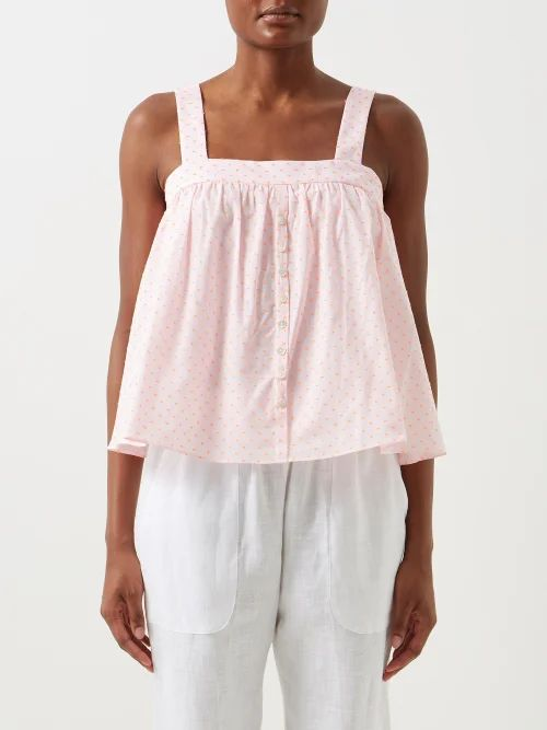 Emilia Wickstead - Maidy Floral Print Rubberised Midi Dress - Womens - Blue White