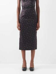 Emilia Wickstead - Maidy Floral Print Rubberised Midi Dress - Womens - Blue White