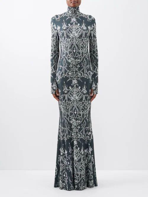 Calvin Klein 205w39nyc - Postcard Print Silk Shirtdress - Womens - White Multi
