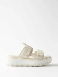 Proenza Schouler - Square Print Silk Georgette Midi Dress - Womens - Orange Multi
