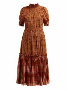 Proenza Schouler - Square Print Gathered Silk Georgette Midi Dress - Womens - Orange Multi