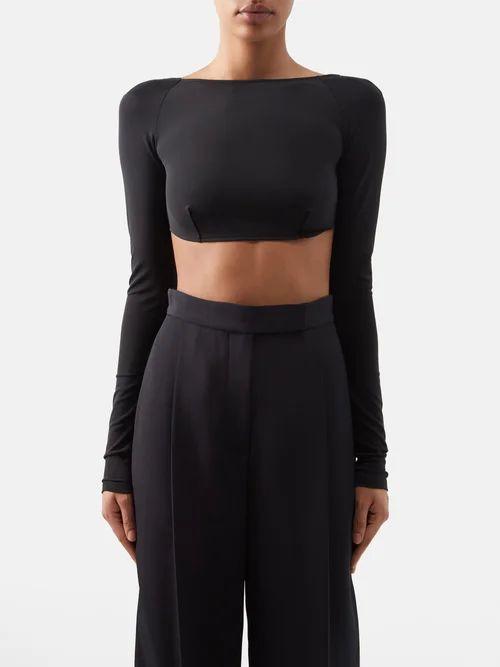 Fendi - Logo Tape Jersey Midi Skirt - Womens - Black Multi