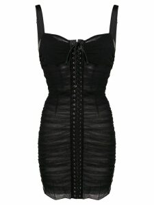 Dolce & Gabbana lace-up ruched dress - Black