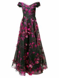 Marchesa Notte long floral dress - Black