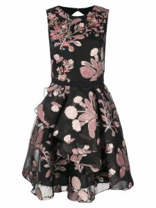 Marchesa Notte floral embroidered mini dress - Black