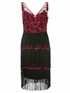 Marchesa Notte floral embroidered fringed dress - Black