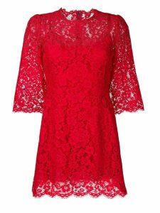 Dolce & Gabbana floral lace mini dress - Red