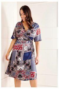 Womens Mela London Curve Wrap Dress -  Blue