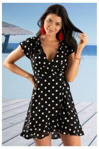 Womens Pour Moi Hot Spots Wrap Dress -  Black