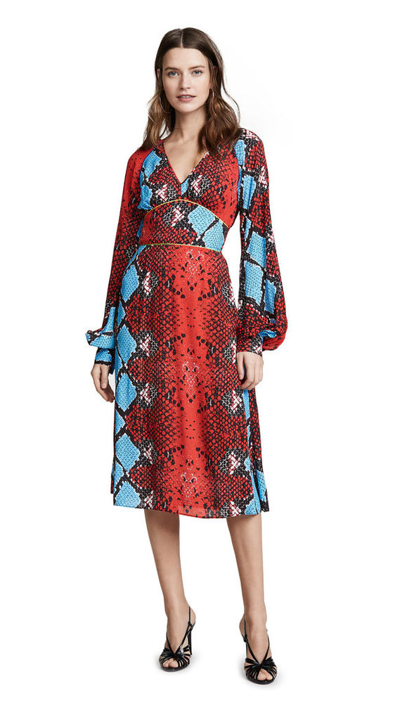 Stella Jean Snake Print V Neck Dress