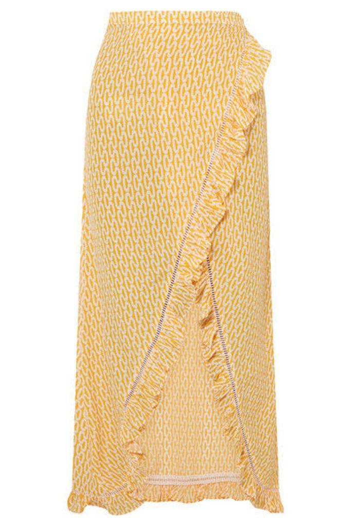 Paloma Blue - Stevie Ruffled Printed Crepe De Chine Wrap Maxi Skirt - Yellow