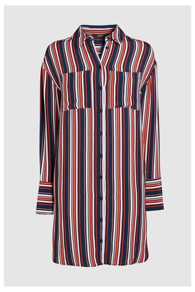 Womens Next Stripe Shirt Dress -  Brown