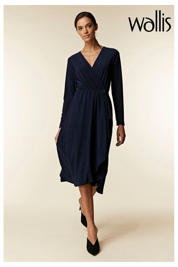 Womens Wallis Blue Wrap Frill Button Midi Dress -  Blue