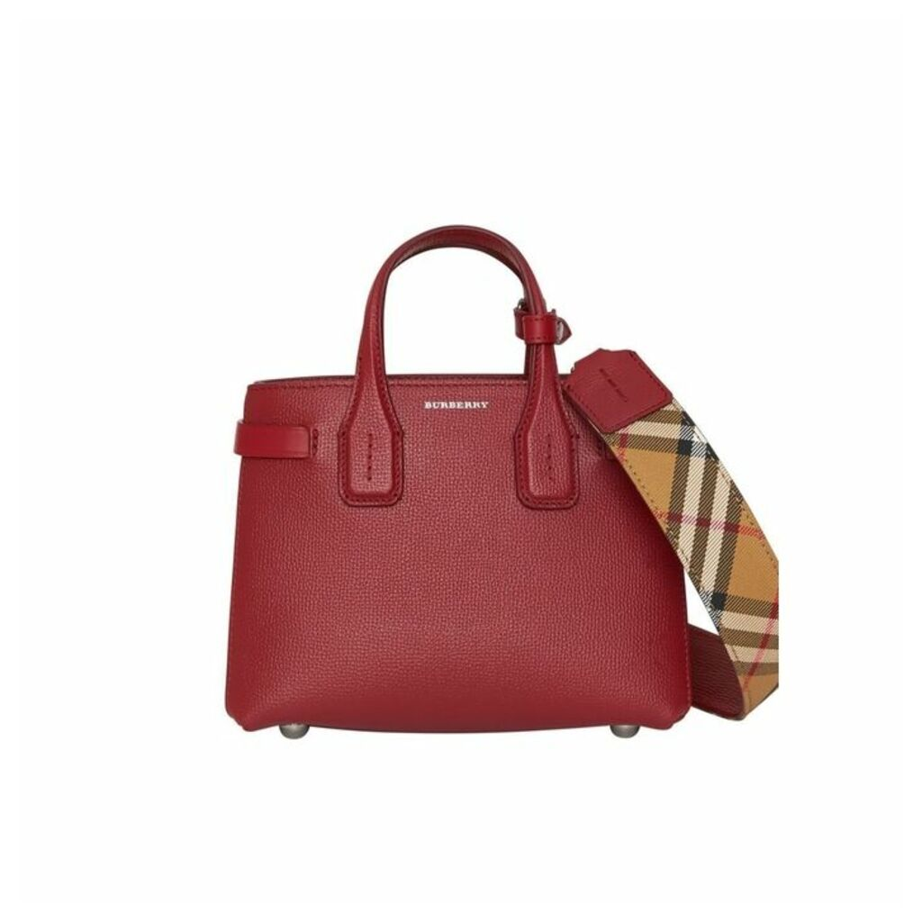 Burberry The Baby Banner In Leather And Vintage Check