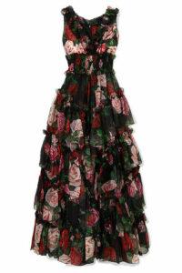 Dolce & Gabbana - Ruffled Tiered Floral-print Silk-chiffon Gown - Black