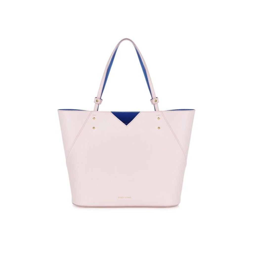 Stacy Chan London Veronica Tote In Peony Saffiano Leather