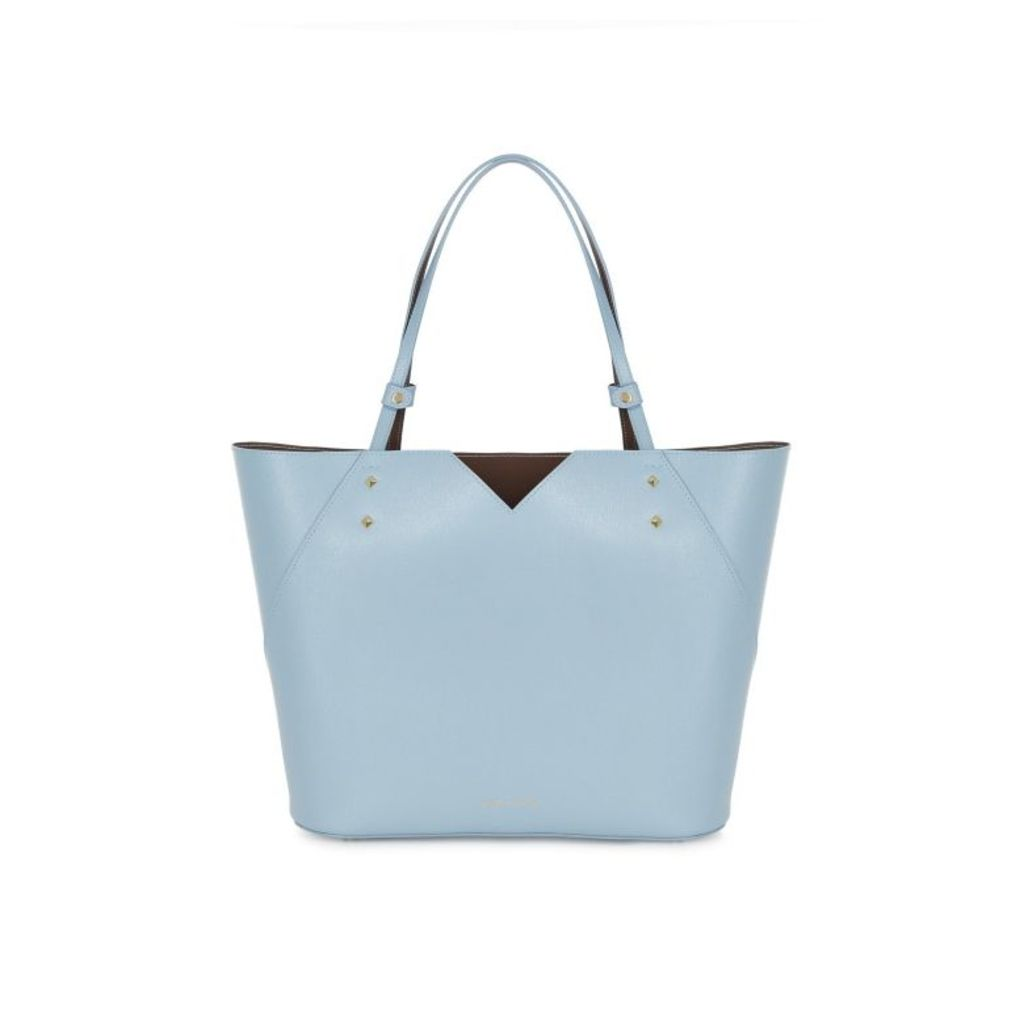 Stacy Chan London Veronica Tote In Powder Blue Saffiano Leather