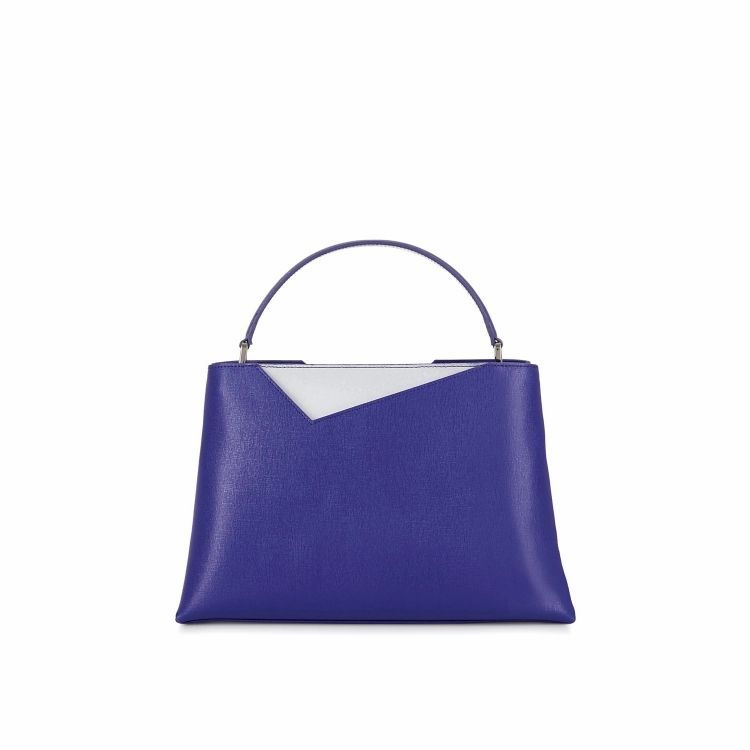 Stacy Chan London Midi Amy Tote In Violet Saffiano Leather
