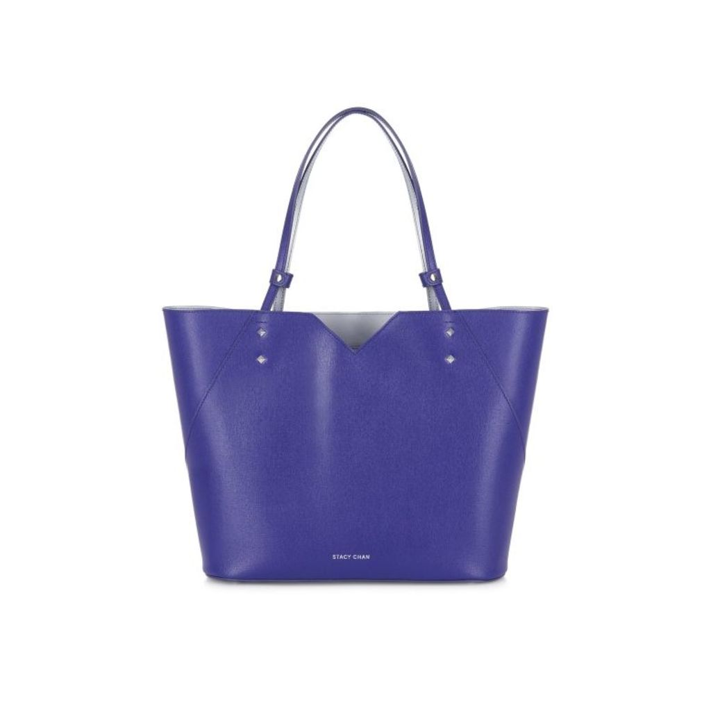 Stacy Chan London Veronica Tote In Violet Saffiano Leather