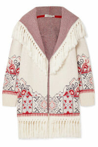 Philosophy di Lorenzo Serafini - Hooded Tasseled Cotton-blend Jacquard Cardigan - White