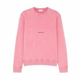 Saint Laurent Pink Logo-print Cotton Sweatshirt