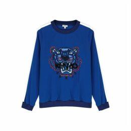 Kenzo Blue Tiger-embroidered Striped Sweatshirt