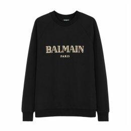 Balmain Black Logo-print Cotton Sweatshirt