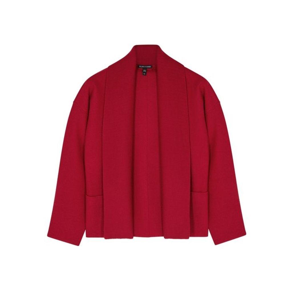 EILEEN FISHER Red Merino Wool Jacket