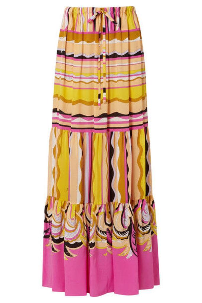 Emilio Pucci - Printed Silk Crepe De Chine Maxi Skirt - Yellow