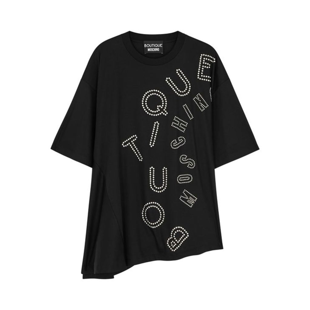 Boutique Moschino Black Logo Studded Jersey T-shirt