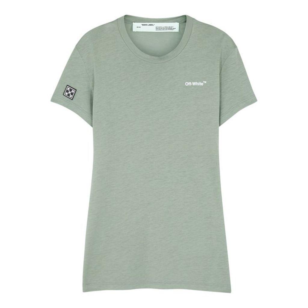 Off-White Green Logo-print Jersey T-shirt
