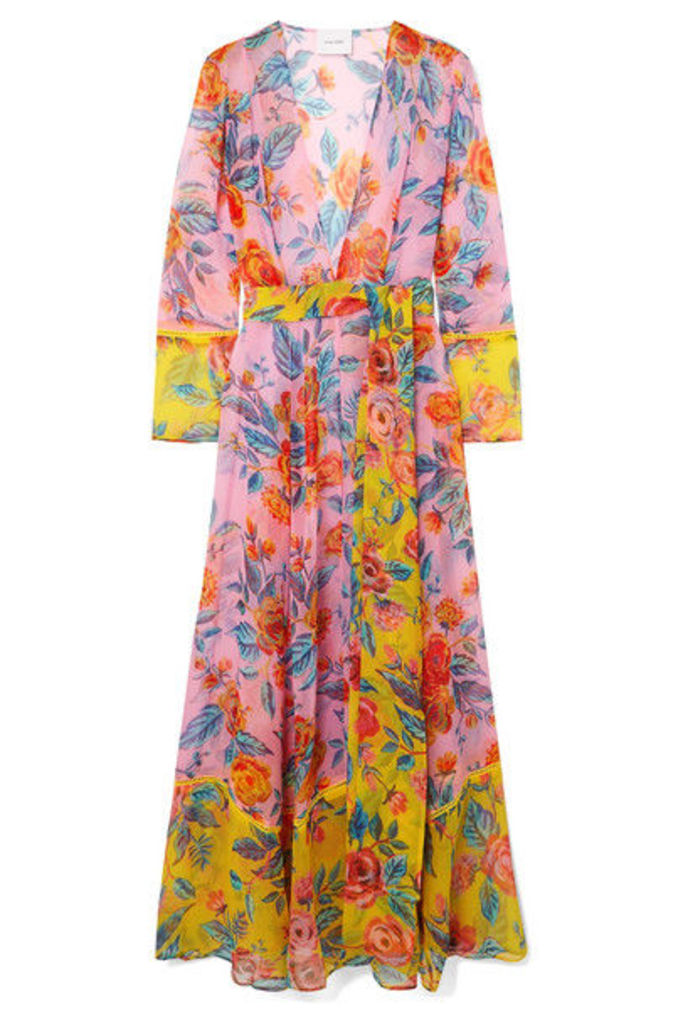 we are LEONE - Floral-print Silk-chiffon Robe - Pink