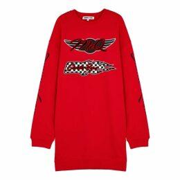 McQ Alexander McQueen Red Printed Cotton Sweatshirt Dress