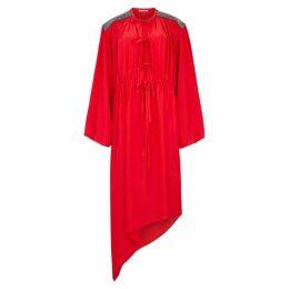 Christopher Kane Red Embellished Crepe De Chine Midi Dress