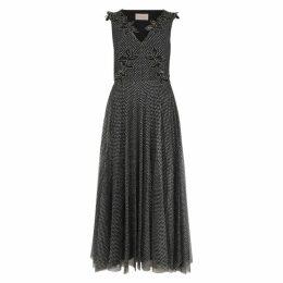 Christopher Kane Black Embellished Tulle Midi Dress