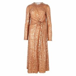 Galvan Pinwheel Mocha Sequin Midi Dress