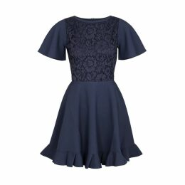 Valentino Navy Lace And Jersey Dress