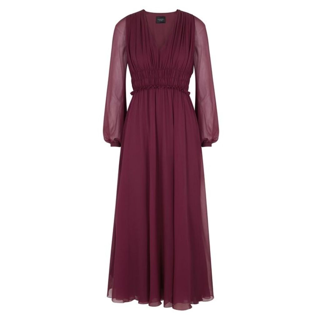 Giambattista Valli Burgundy Silk Chiffon Dress