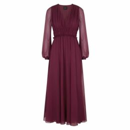 Giambattista Valli Burgundy Silk Chiffon Dress
