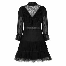 Alice + Olivia Clea Black Chiffon And Lace Mini Dress