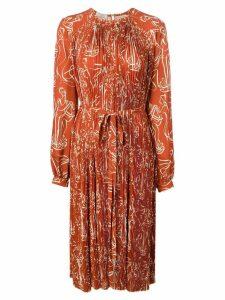 Nina Ricci pleated midi dress - Brown